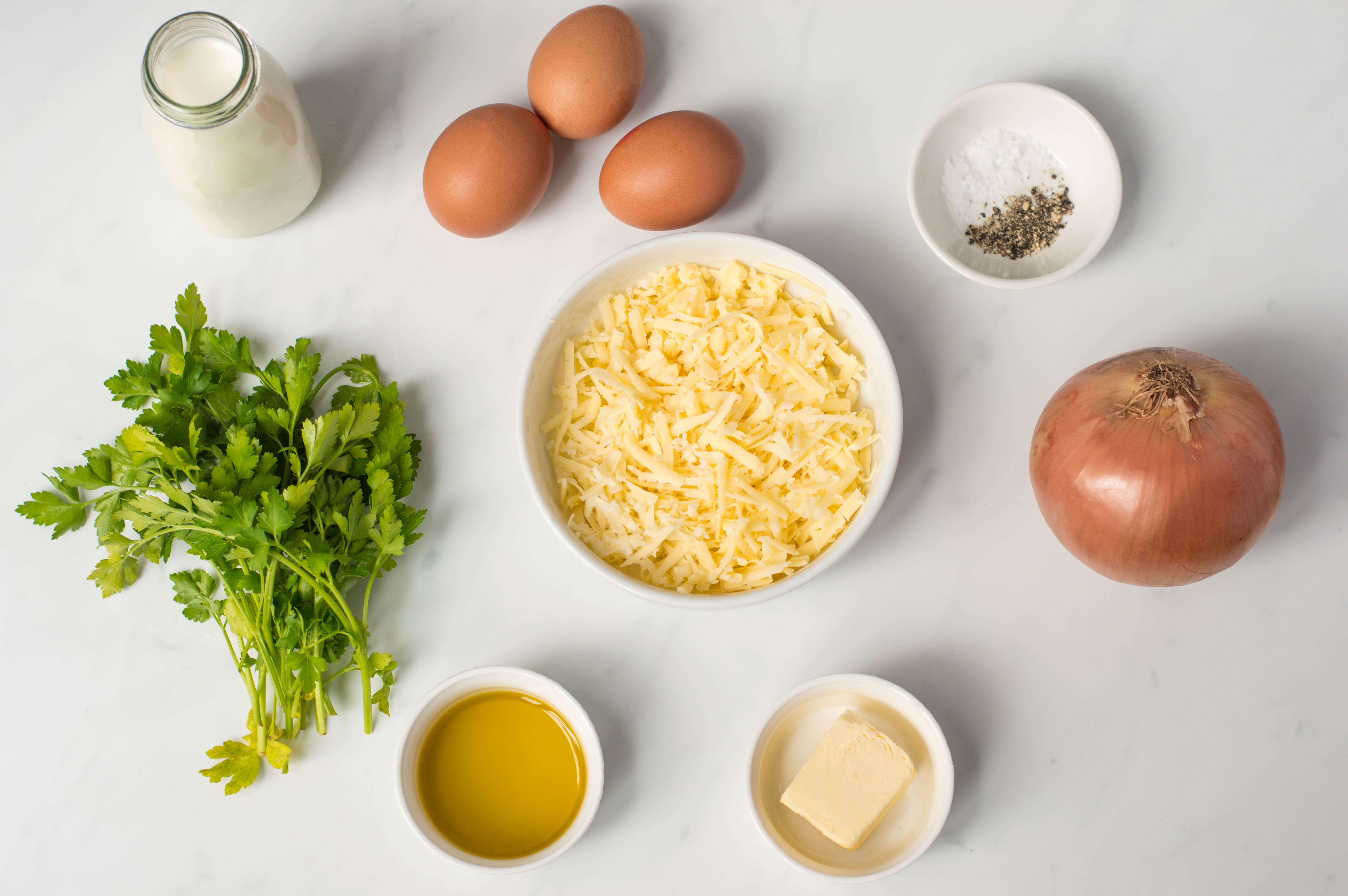 Cheese and onion flan filling ingredients