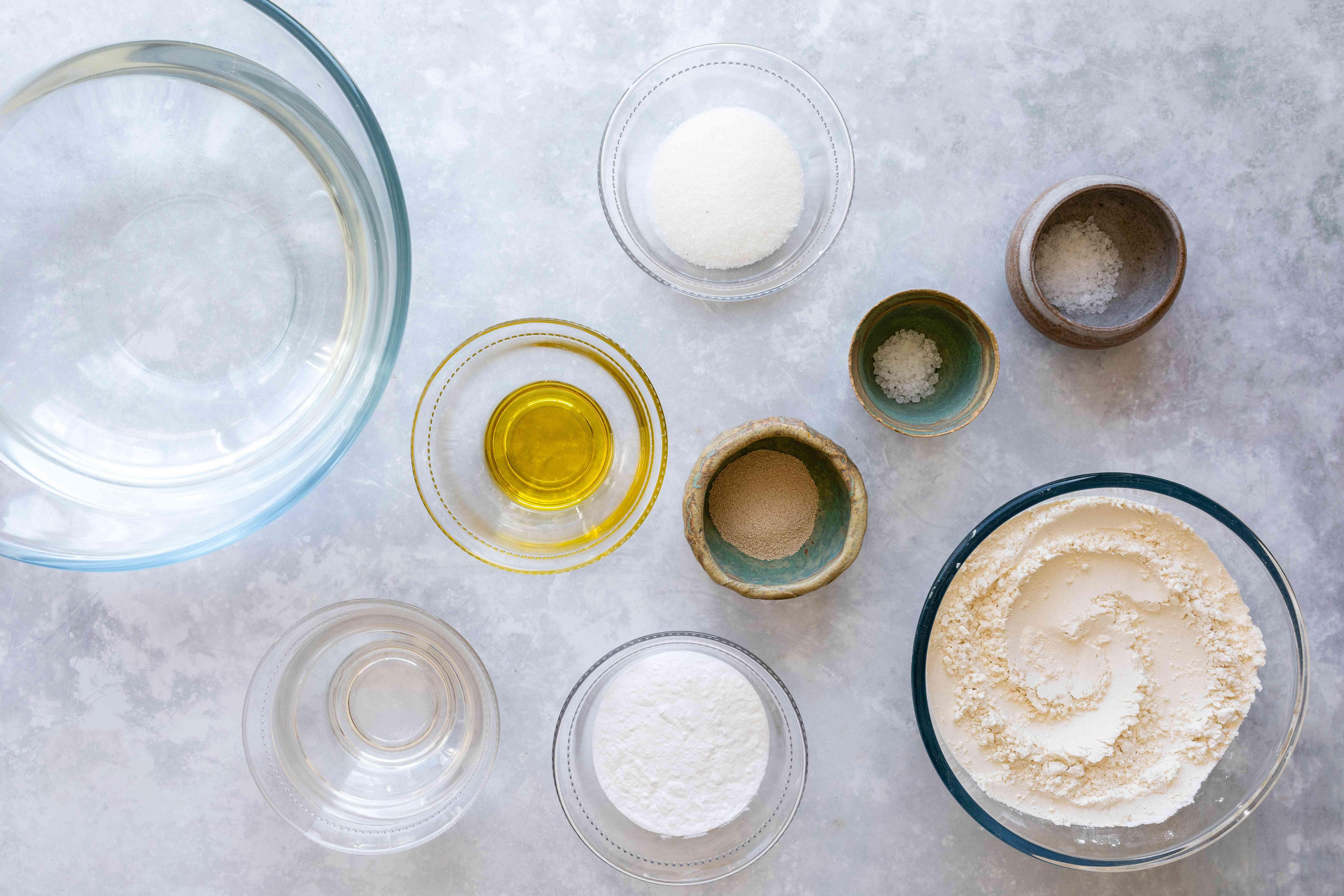 Ingredients for dairy-free soft pretzels