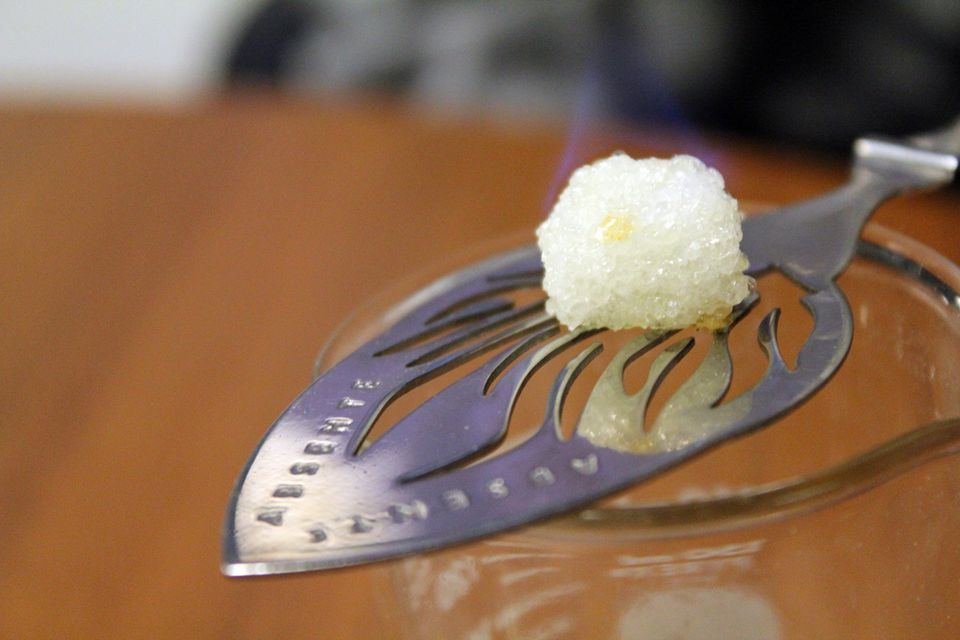 Caramelized Sugar on slotted spoon
