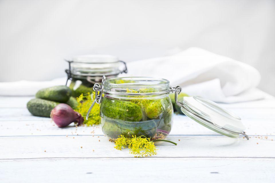 Preserving jar of gherkins and cucumbers