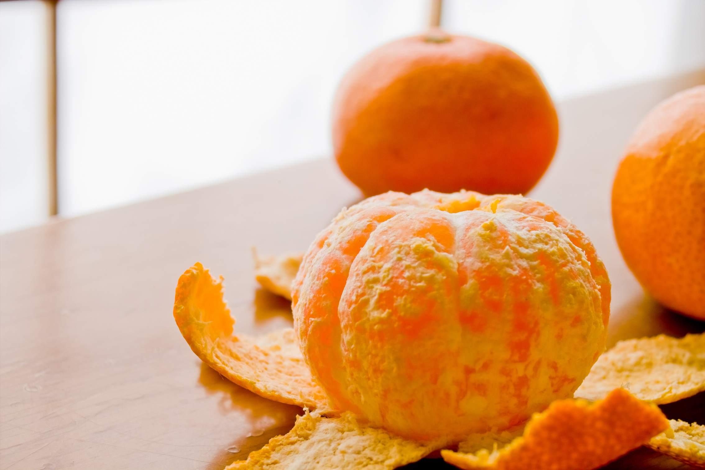 A peeled satsuma (tangerines)