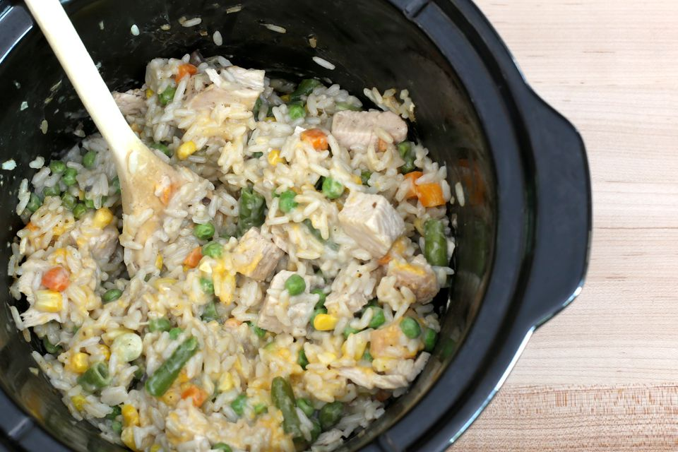 Slow Cooker Turkey and Rice With Mixed Vegetables