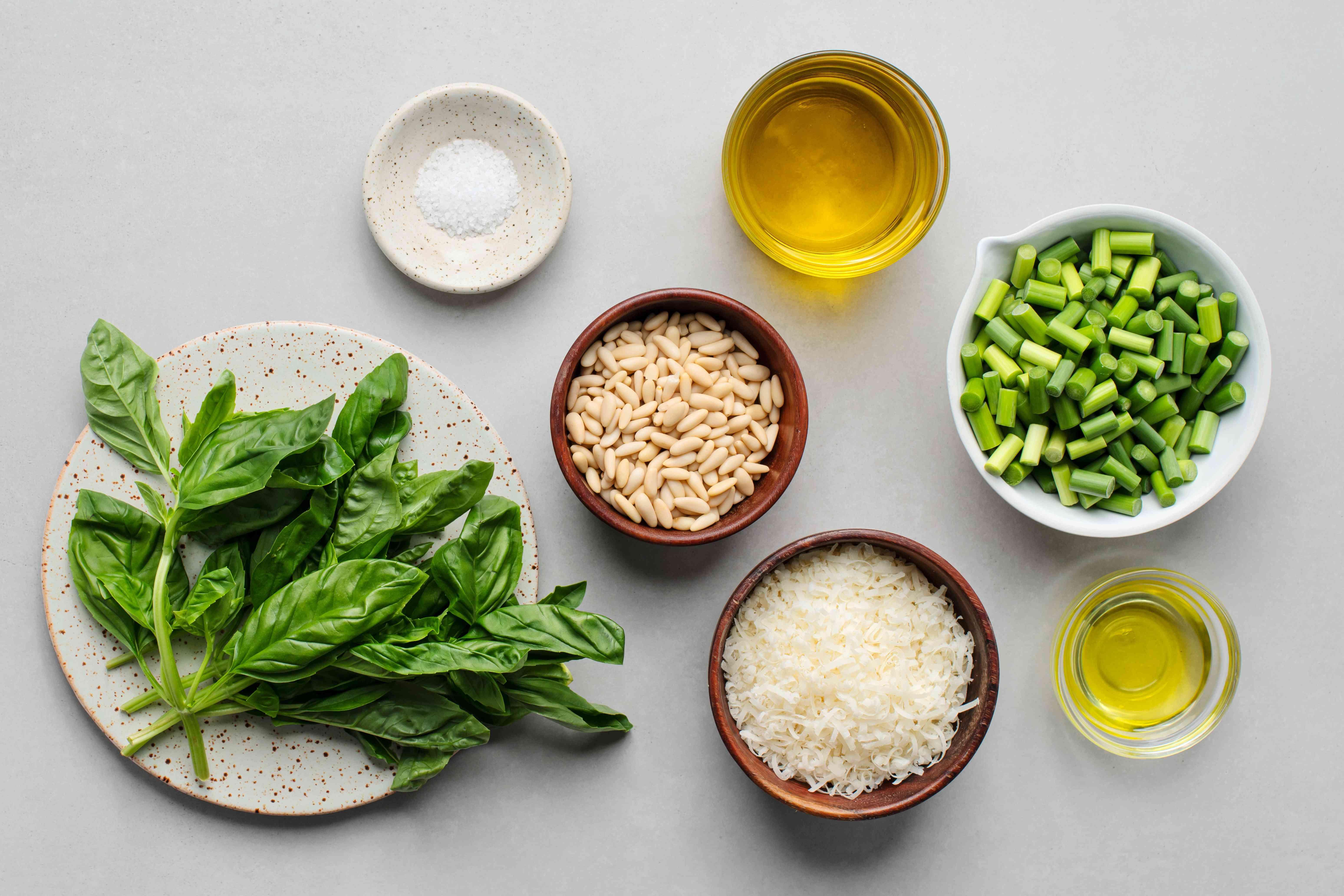 Garlic scape and basil pesto ingredients