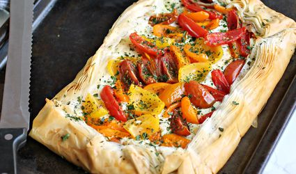 Tomato Tart with Fillo and Feta Cream