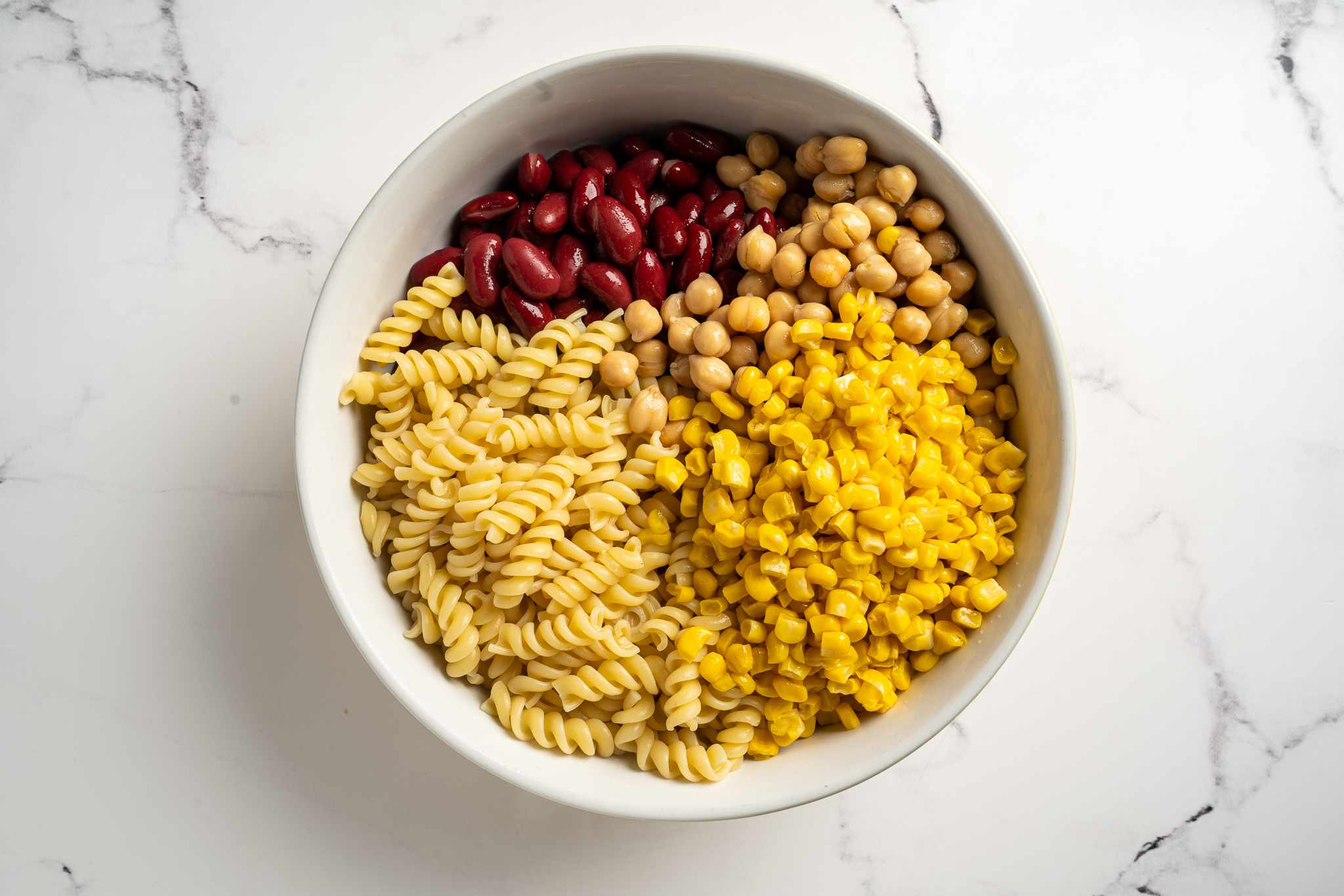 bowl with bean pasta ingredients