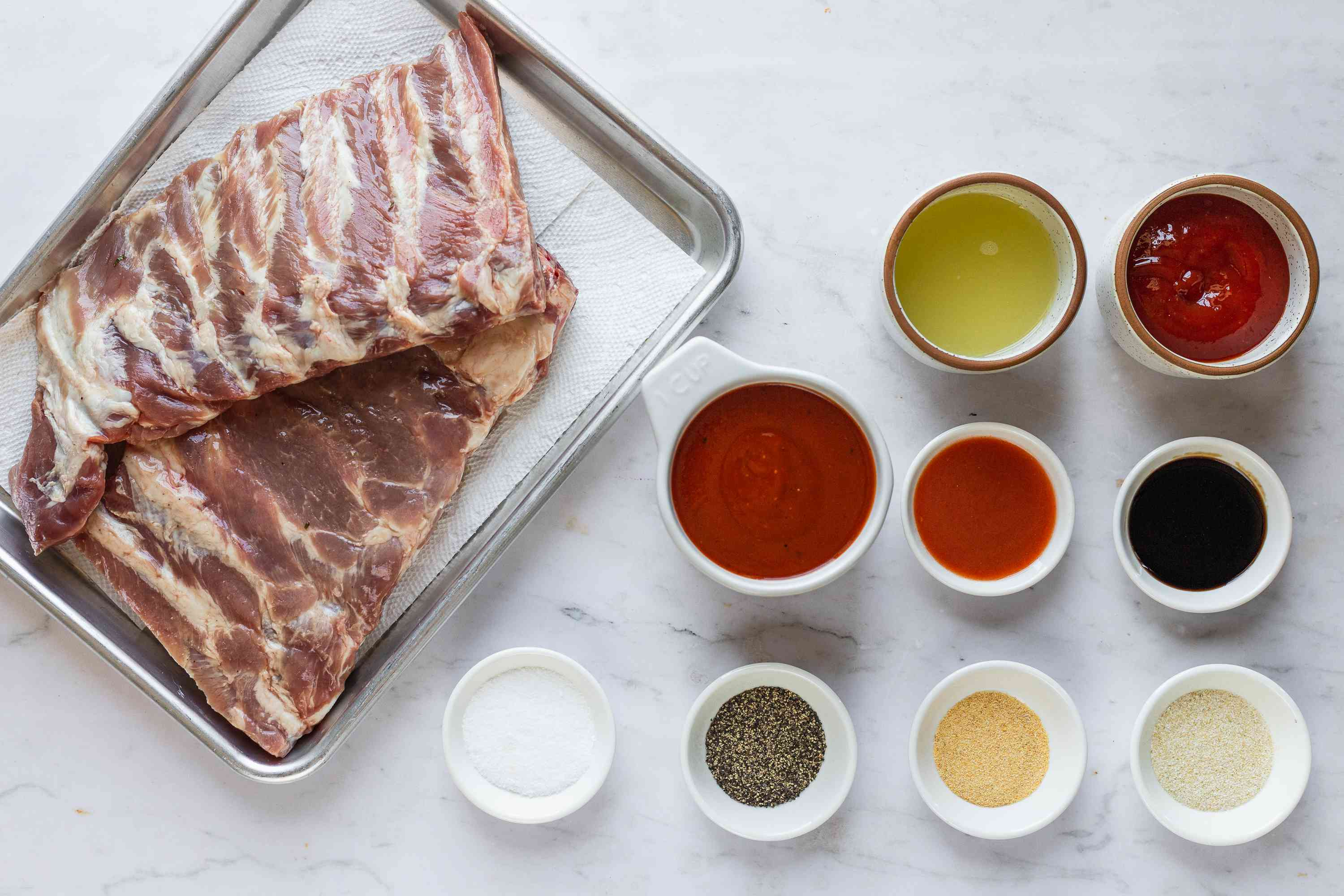 Ingredients for barbecue baked spareribs
