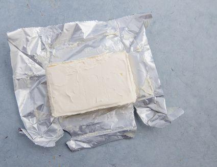 cream cheese open in foil wrapper