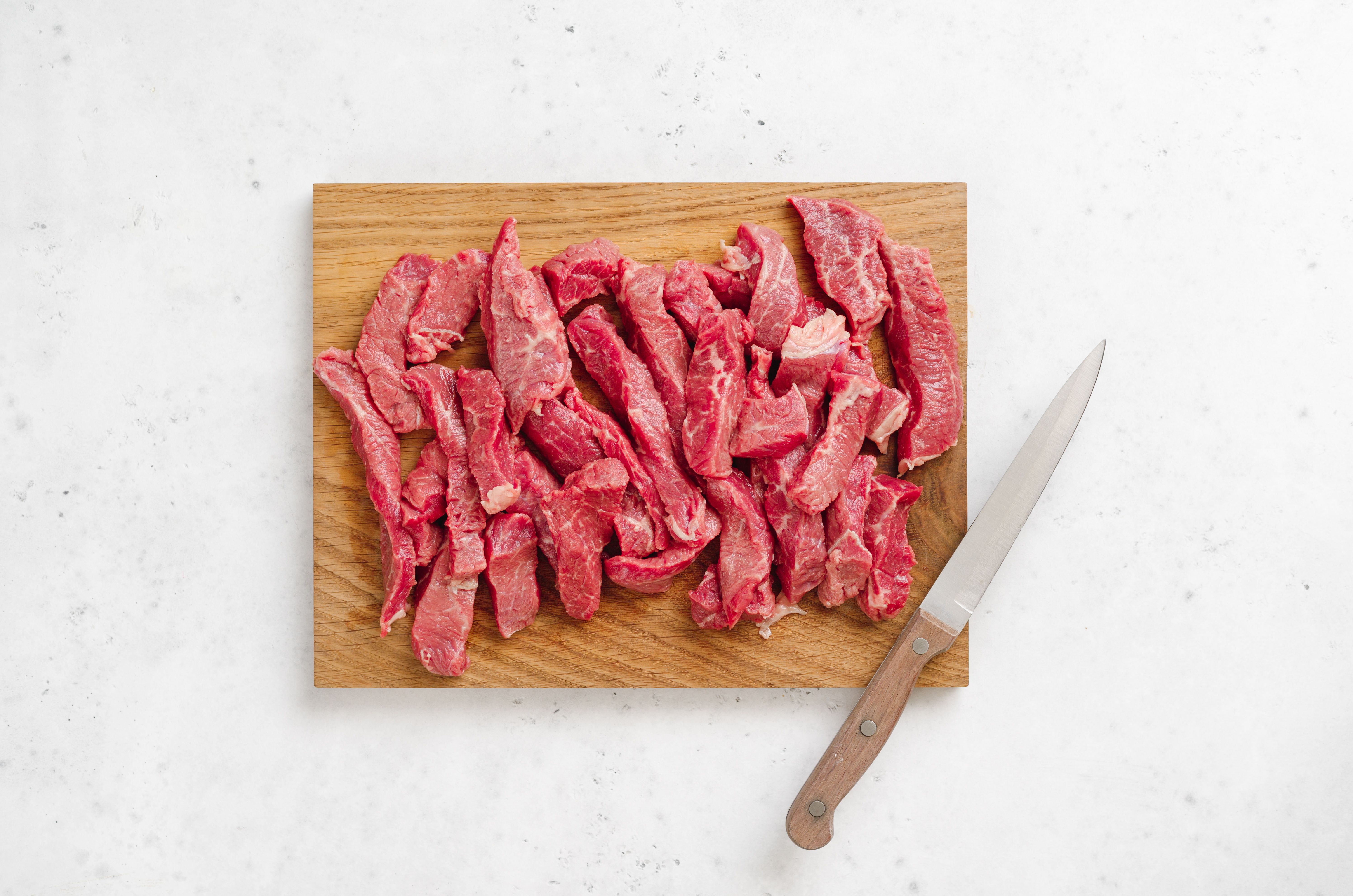 Cut the beef