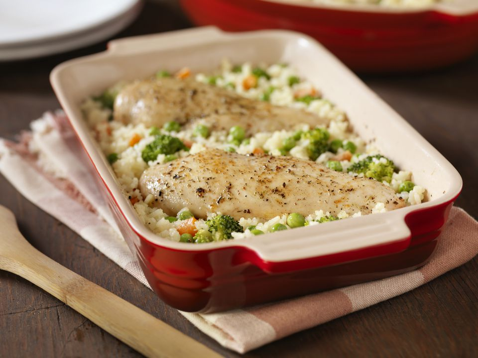 Chicken and rice casserole with broccoli and carrots
