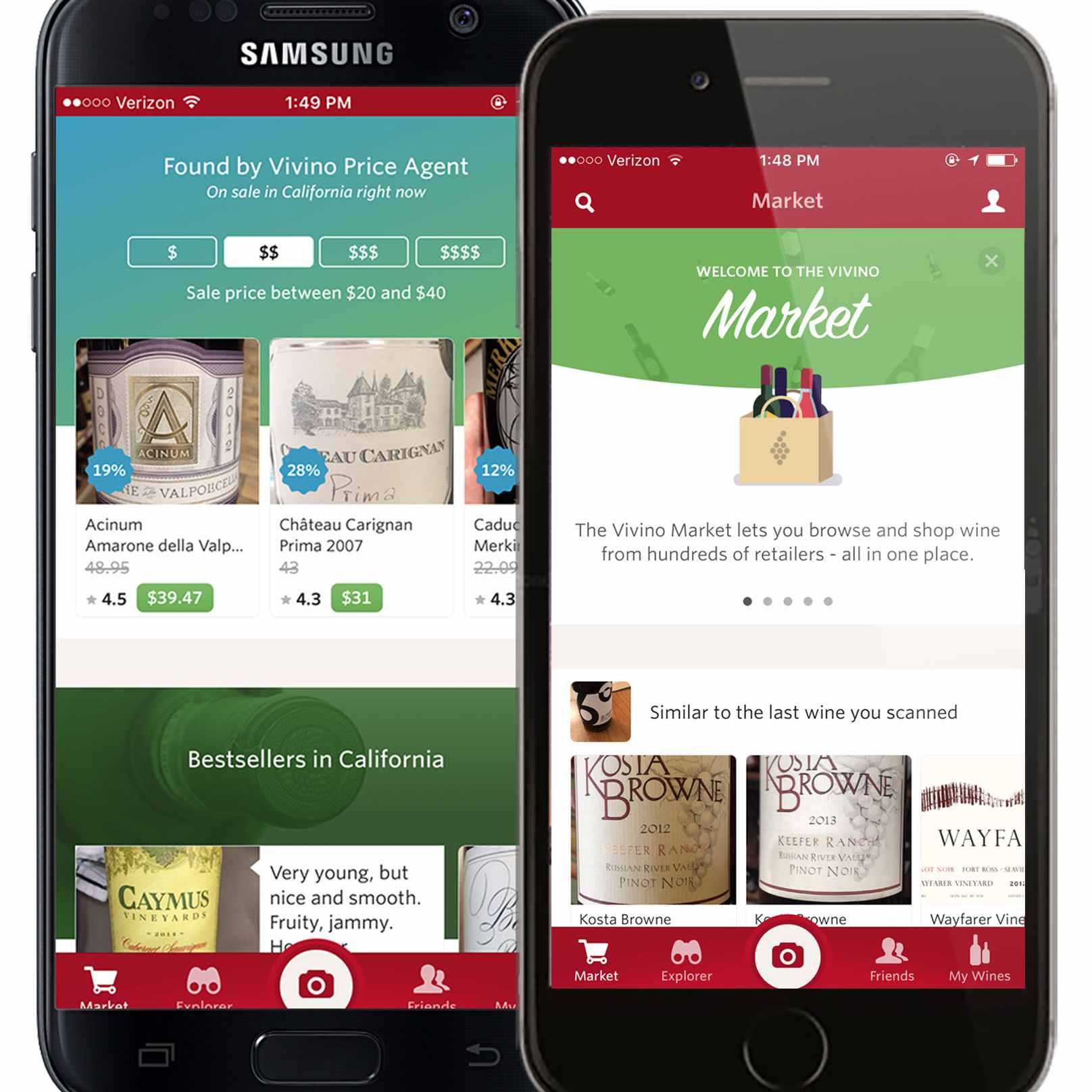 Two cell phones displaying Vivino Wine Scanner app