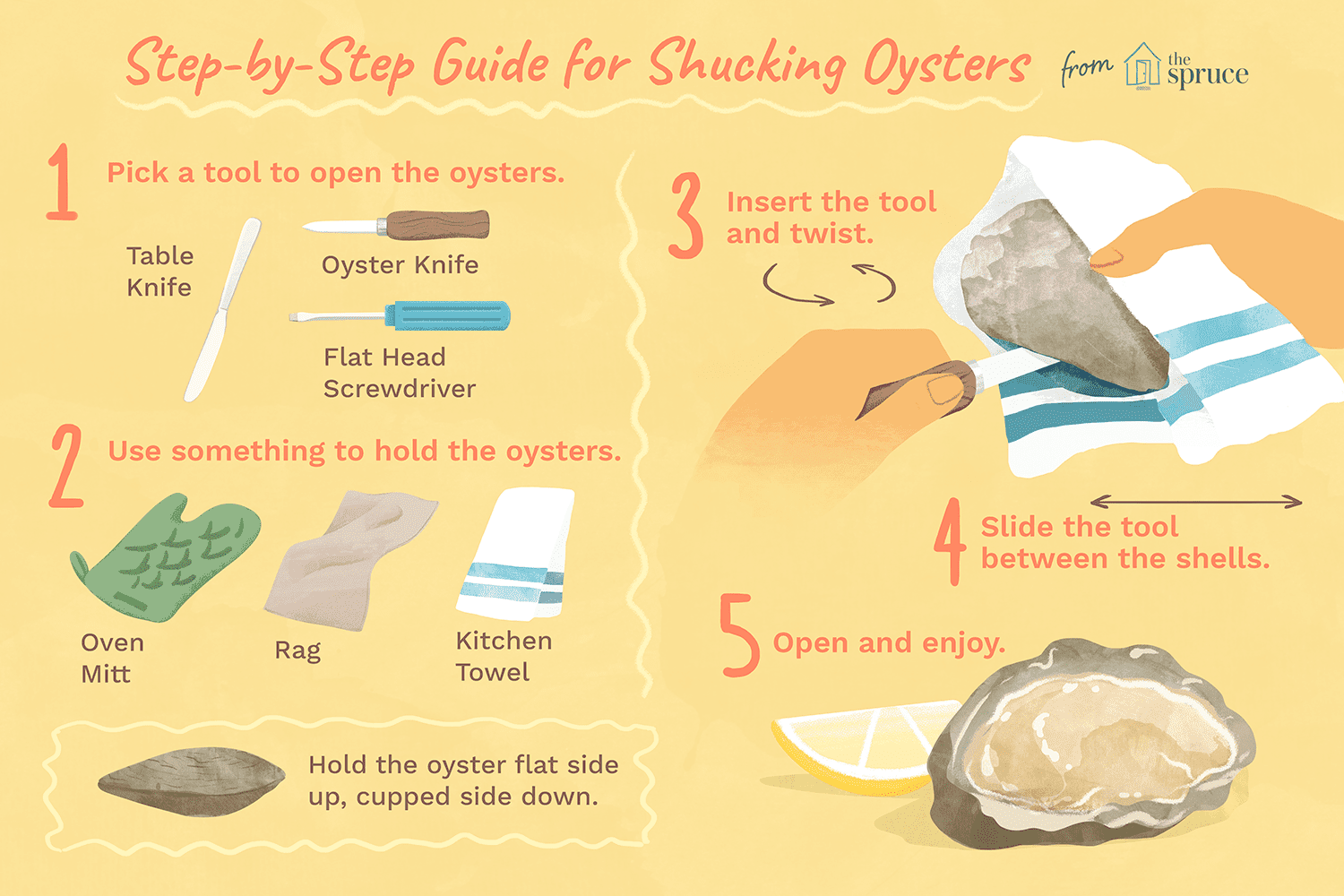 Illustrated guide to shucking oysters