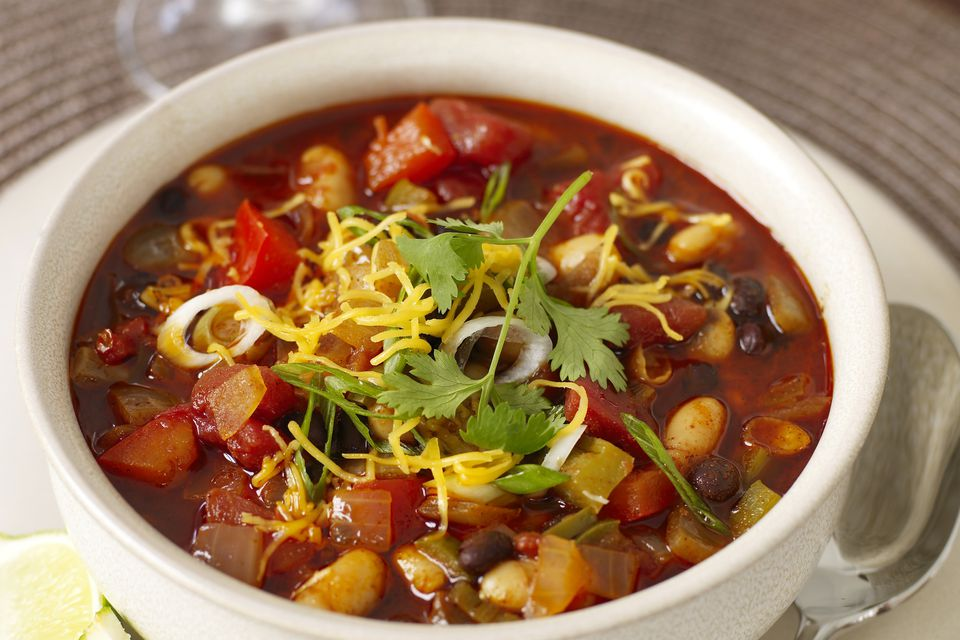 Crock Pot Vegetariano Frijoles Negros Chile