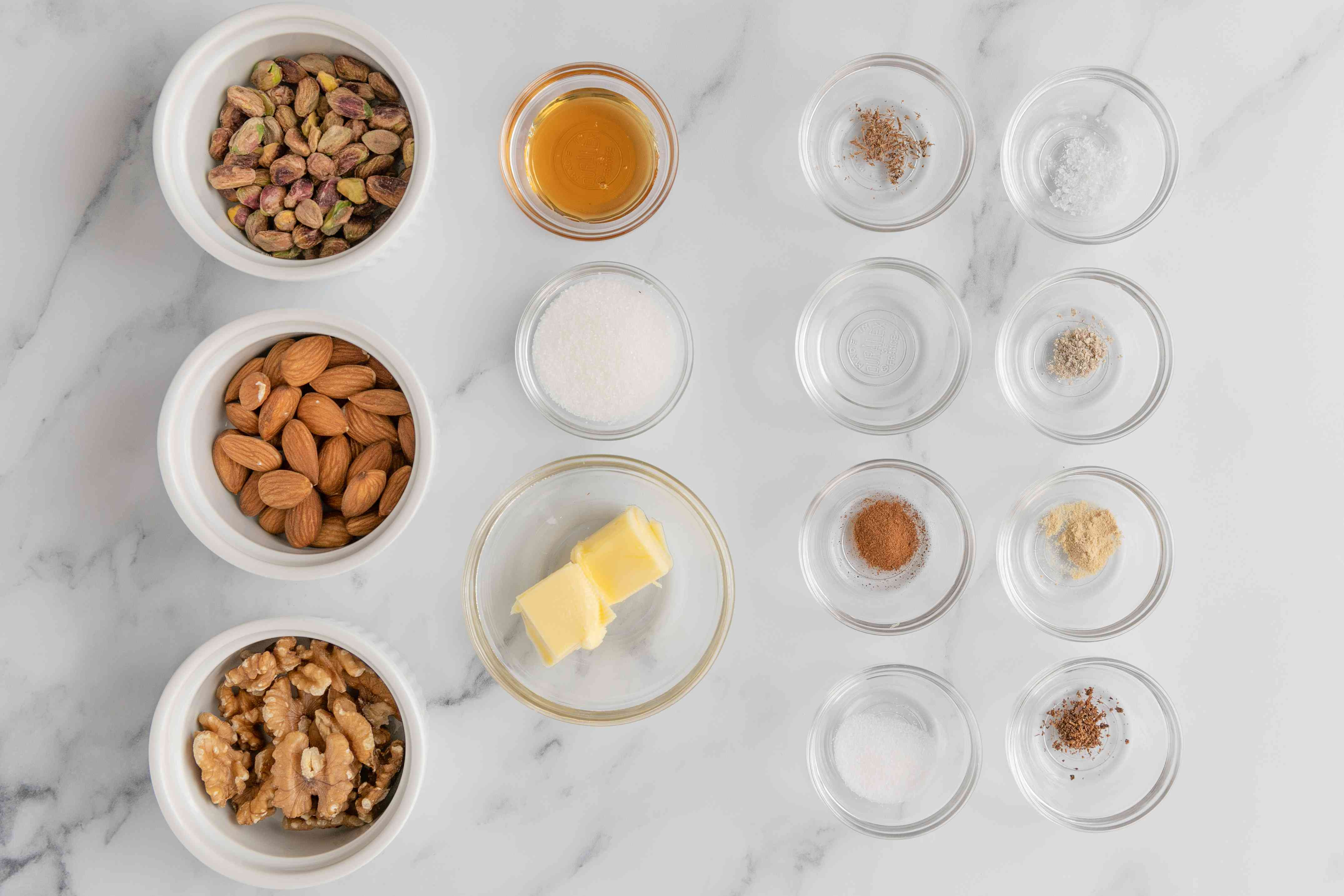 Ingredients for honey spiced nuts