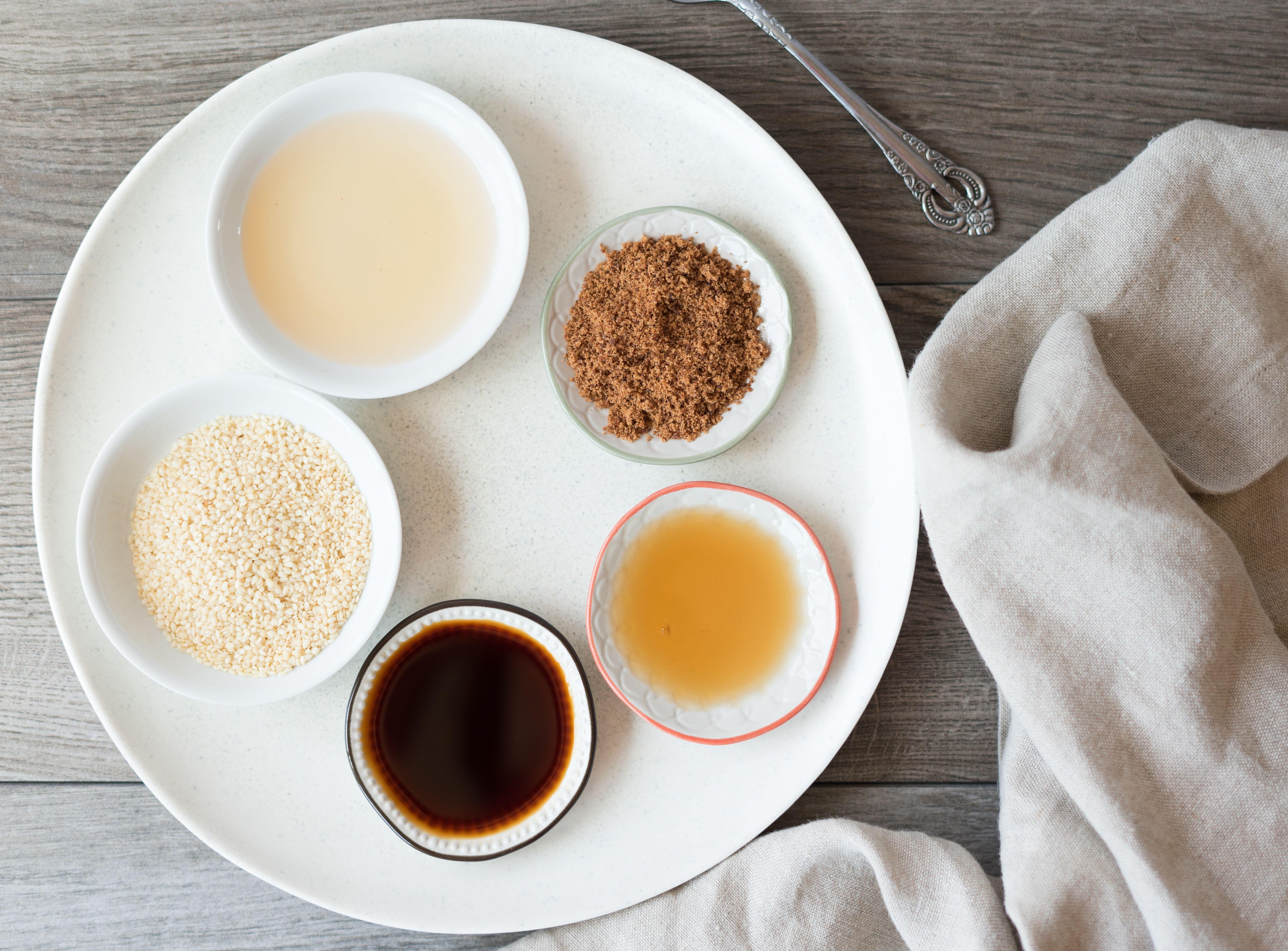 Ingredients for sesame salad dressing