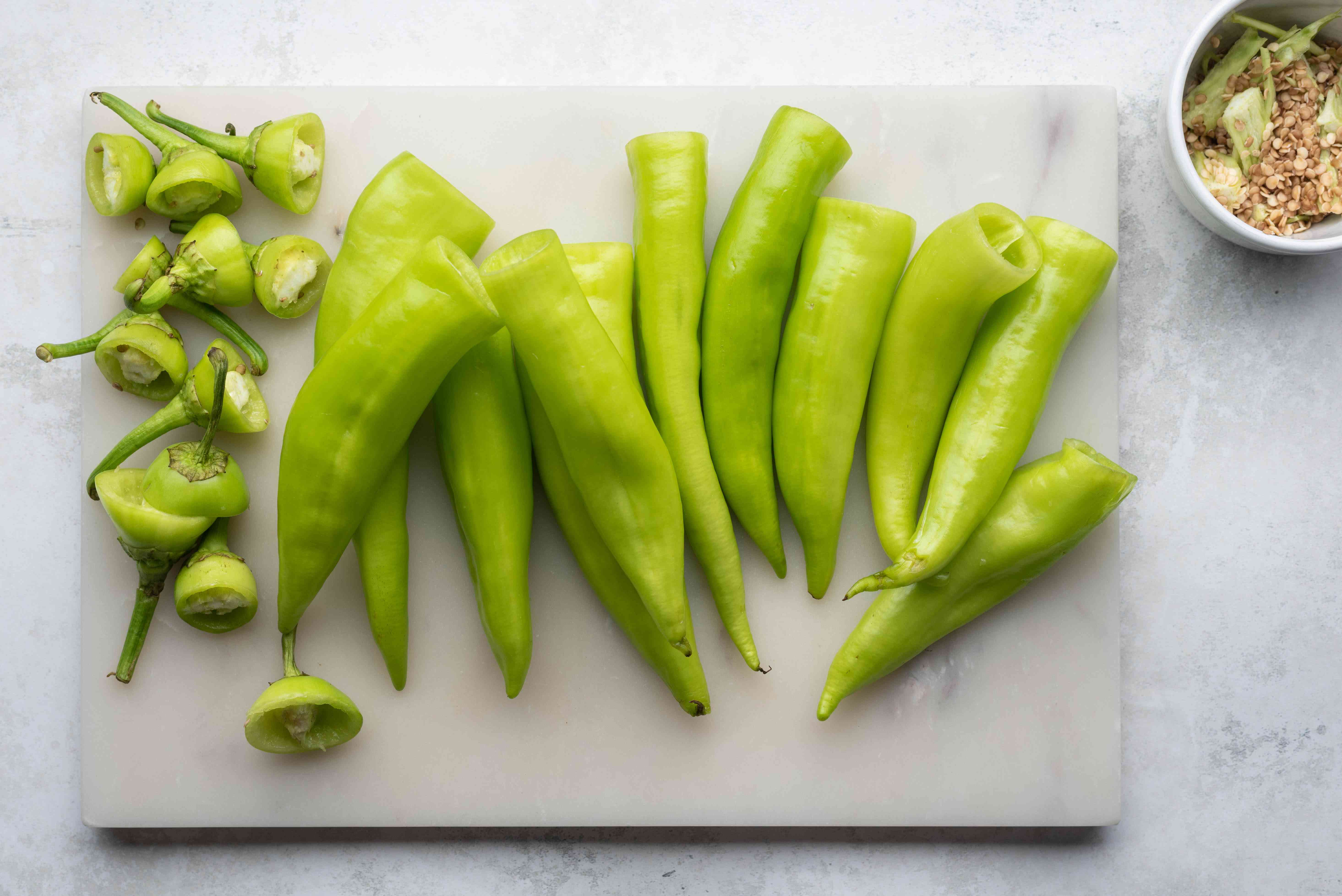 peppers on a cutting board