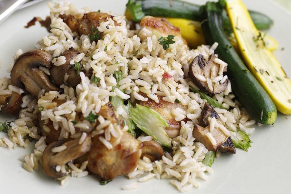 brown rice and mushrooms