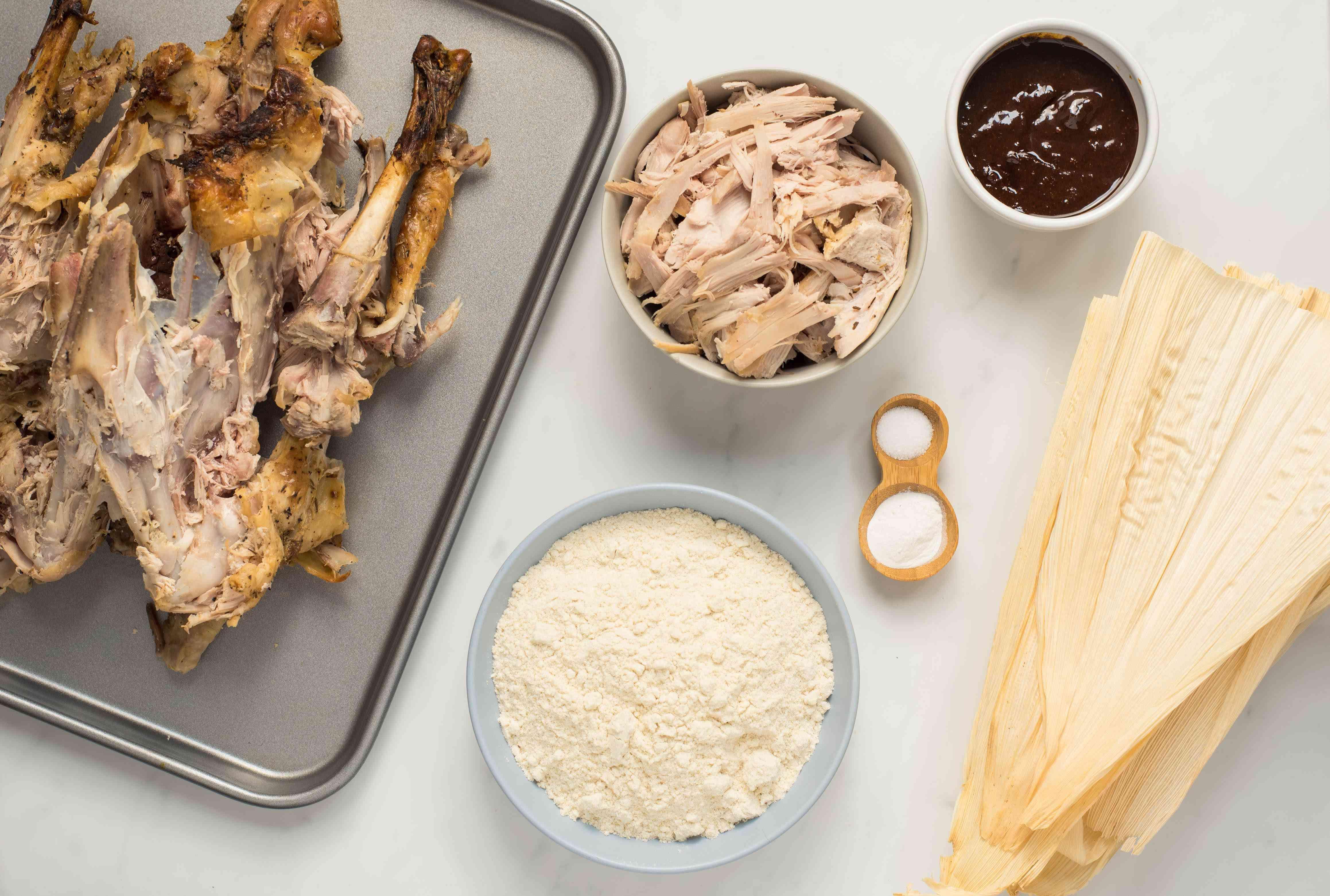 Ingredients for turkey tamales
