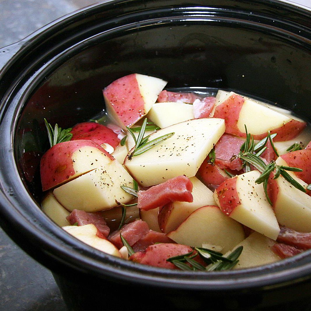 Slow Cooked Potatoes and Country Ham
