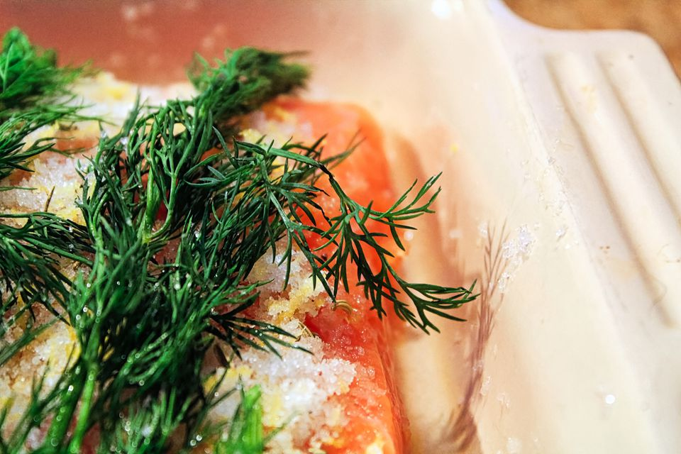 Salmon with salt, sugar, and dill