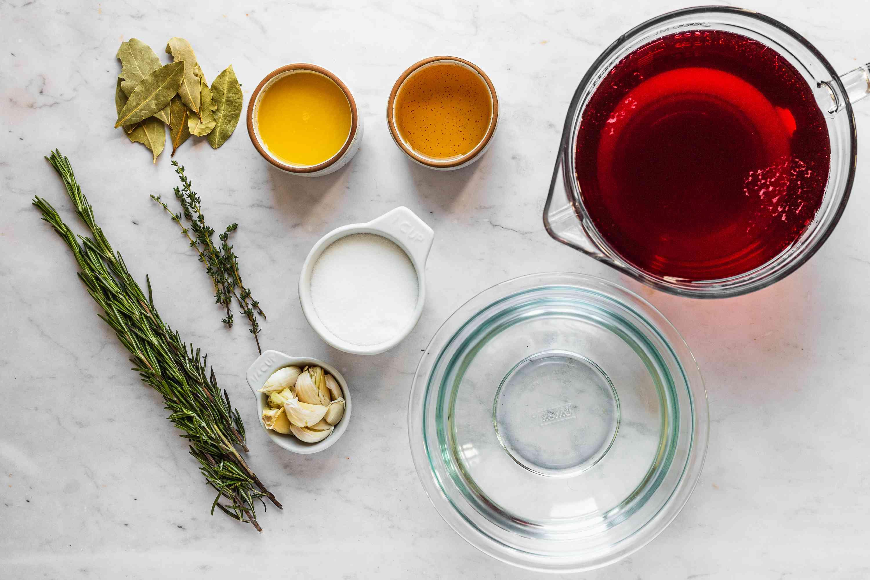Ingredients for cranberry turkey brine recipe