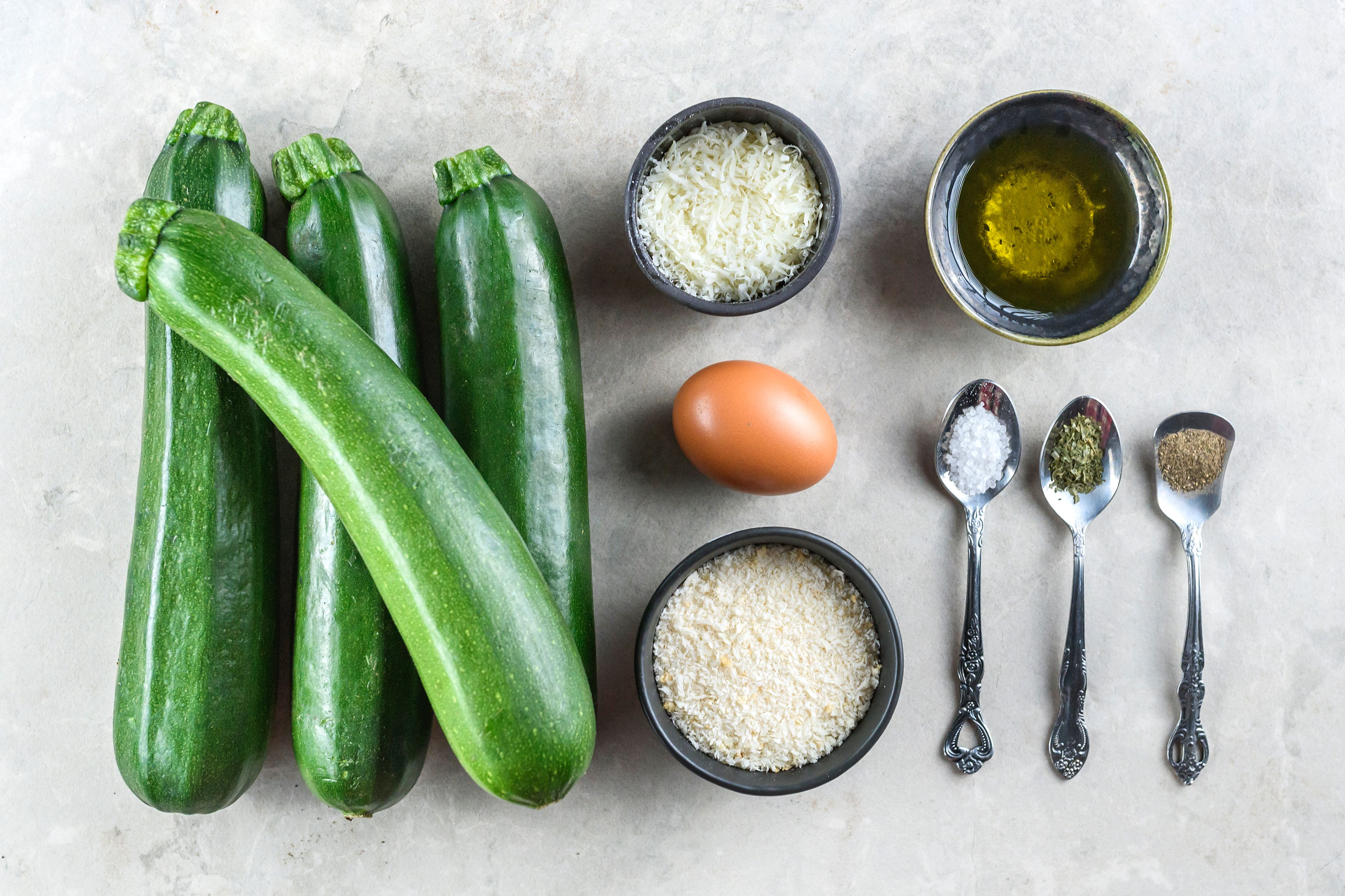 Ingredients for oven fried zucchini