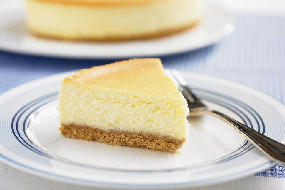 Slice of plain cheesecake