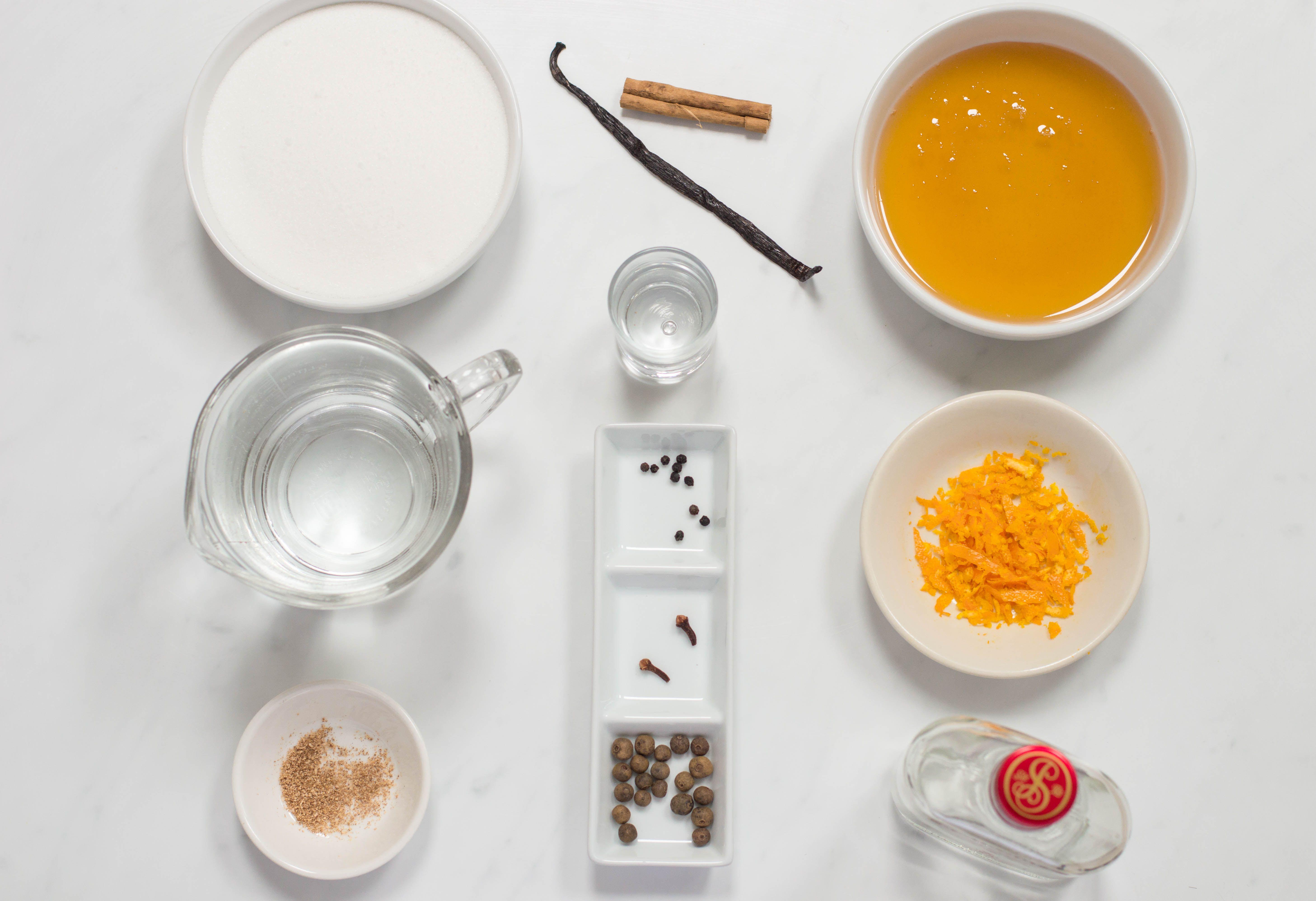 Ingredients for honey-spiced vodka