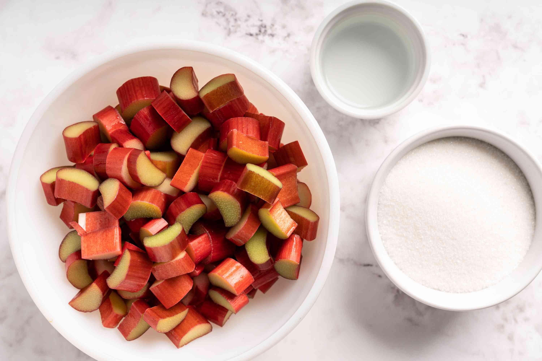 Rhubarb Freezer Jam ingredients