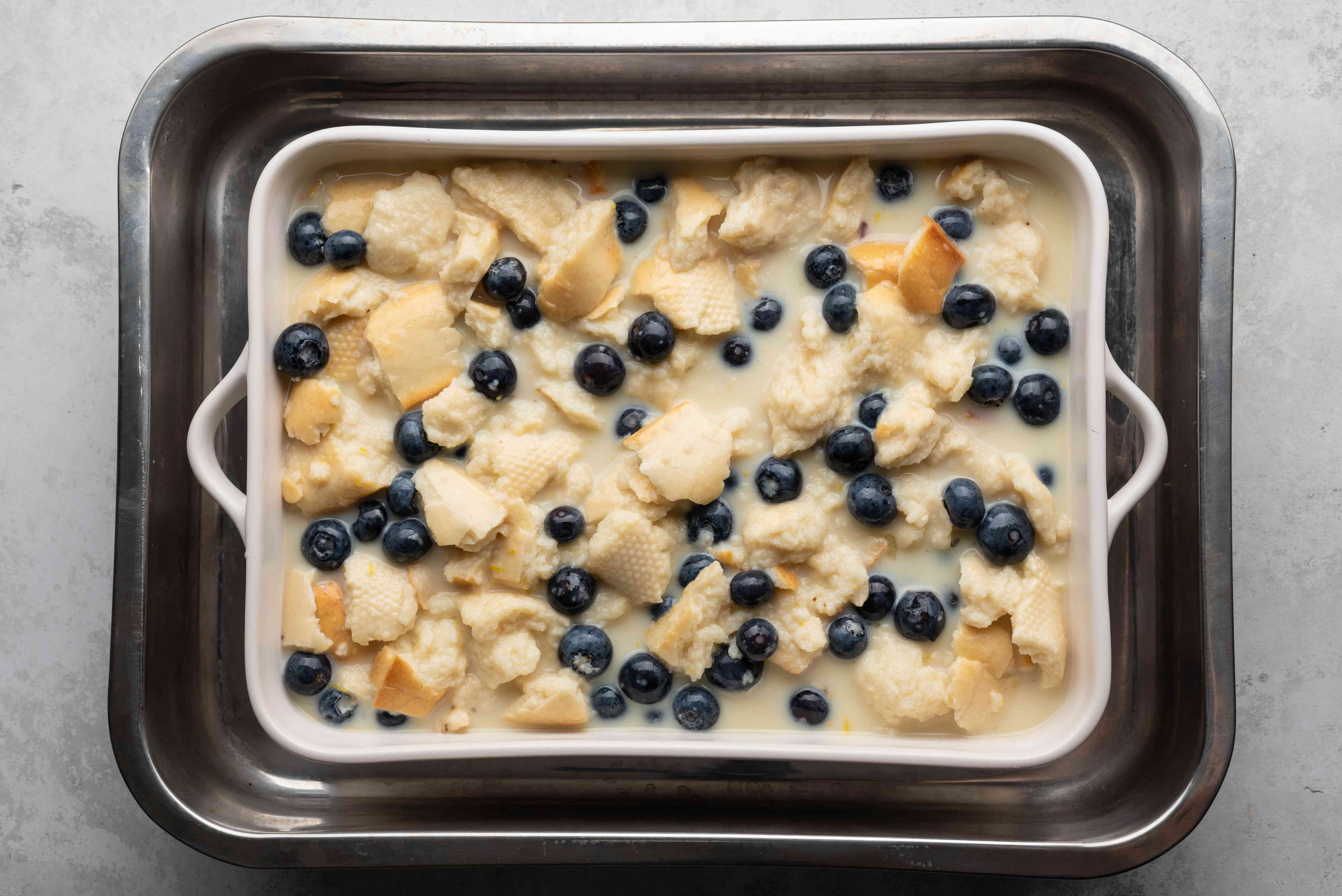 bread pudding mix in a baking dish