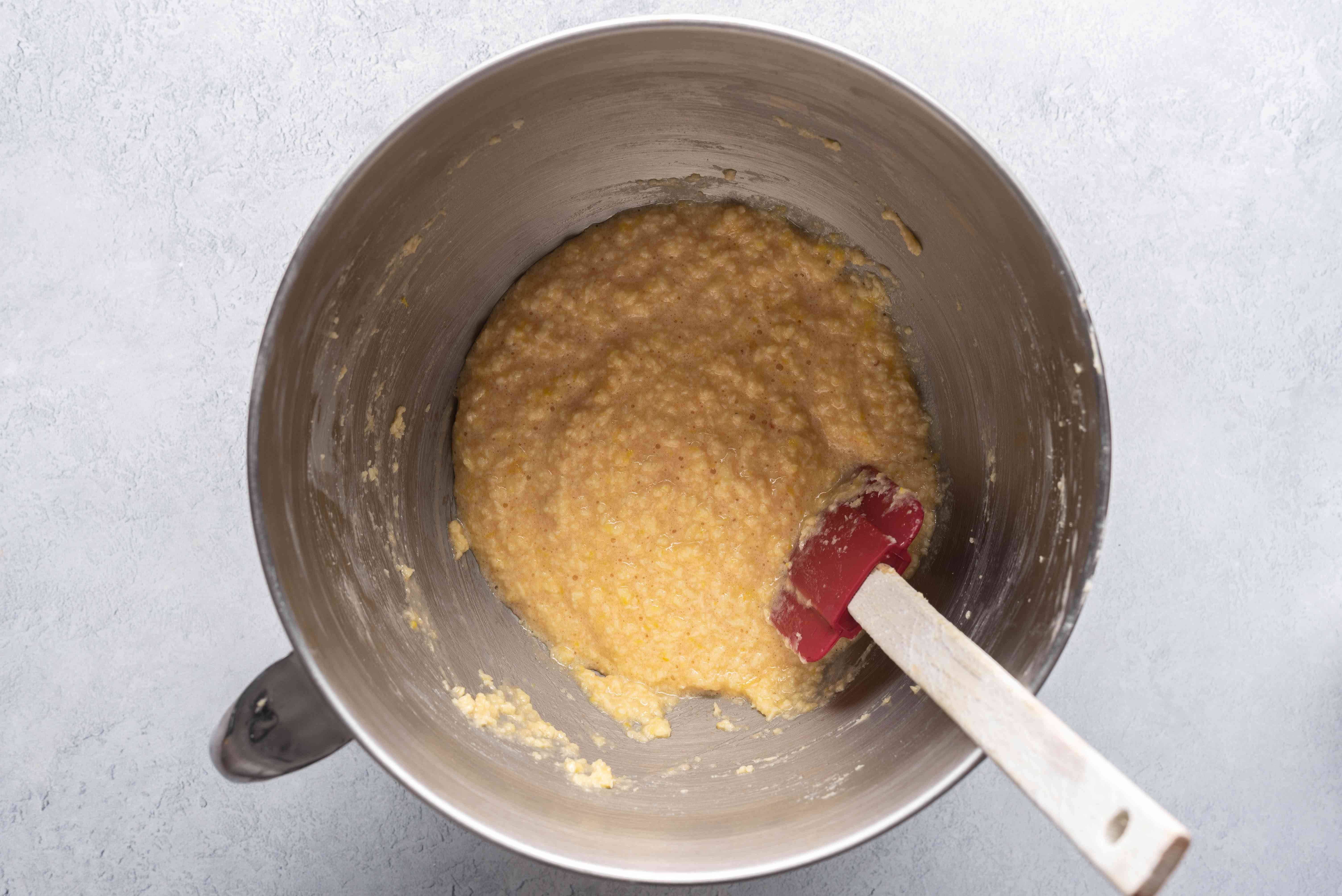 Gently fold the ground almonds, lemon zest, and almond extract into the filling mixture