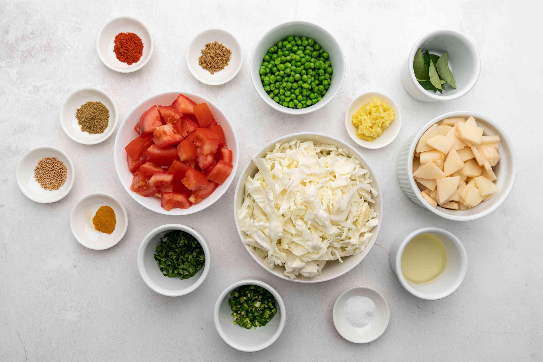 Bund Gobhi/ Patta Gobhi Ki Subji (Stir Fry Cabbage) ingredients