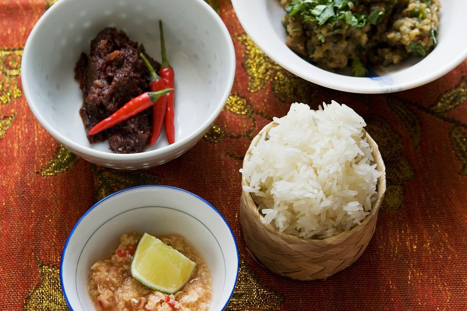 A typical Lao meal with sticky rice