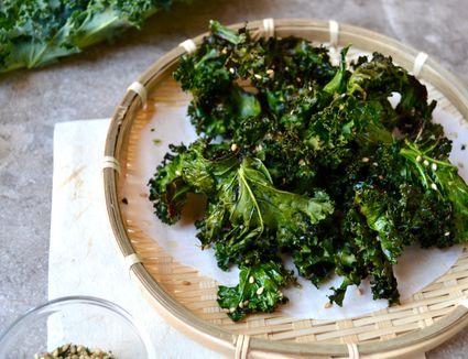 Baked Kale Chips with Furikake Seasoning
