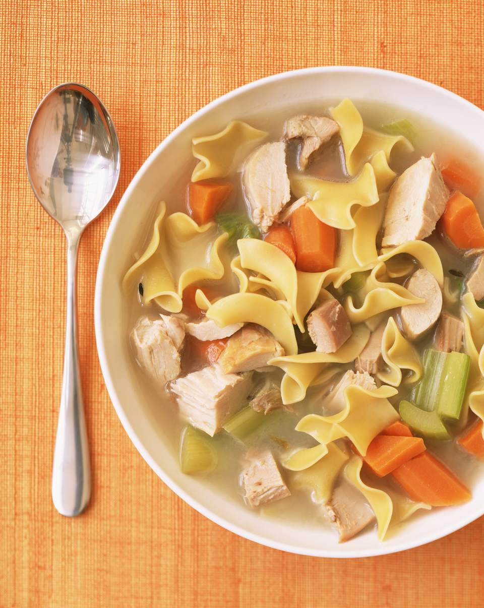 Bowl of chicken noodle soup , and spoon