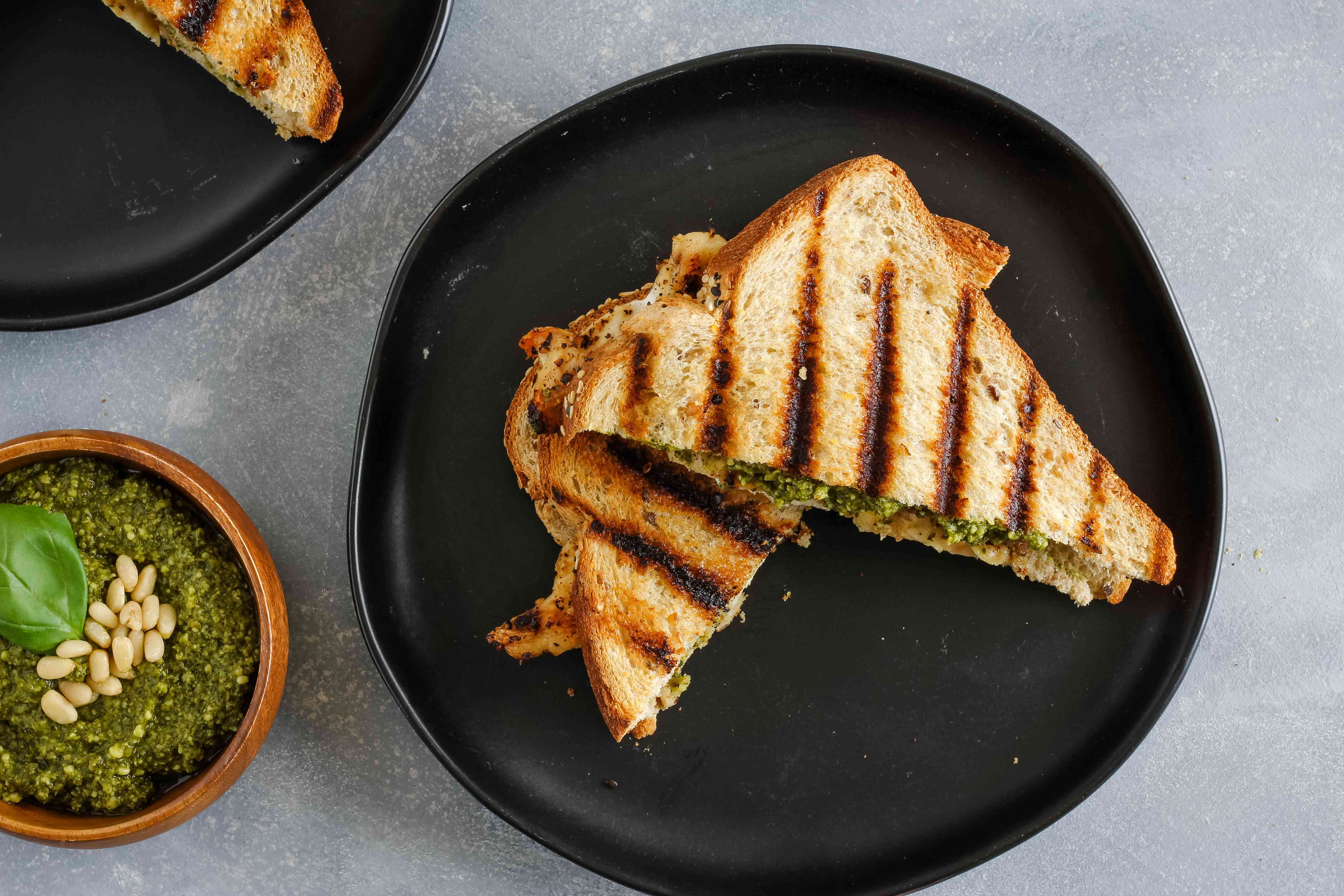 Grilled chicken panini sandwich on a plate