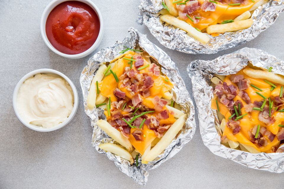 French Fries on the Grill With Cheese and Bacon