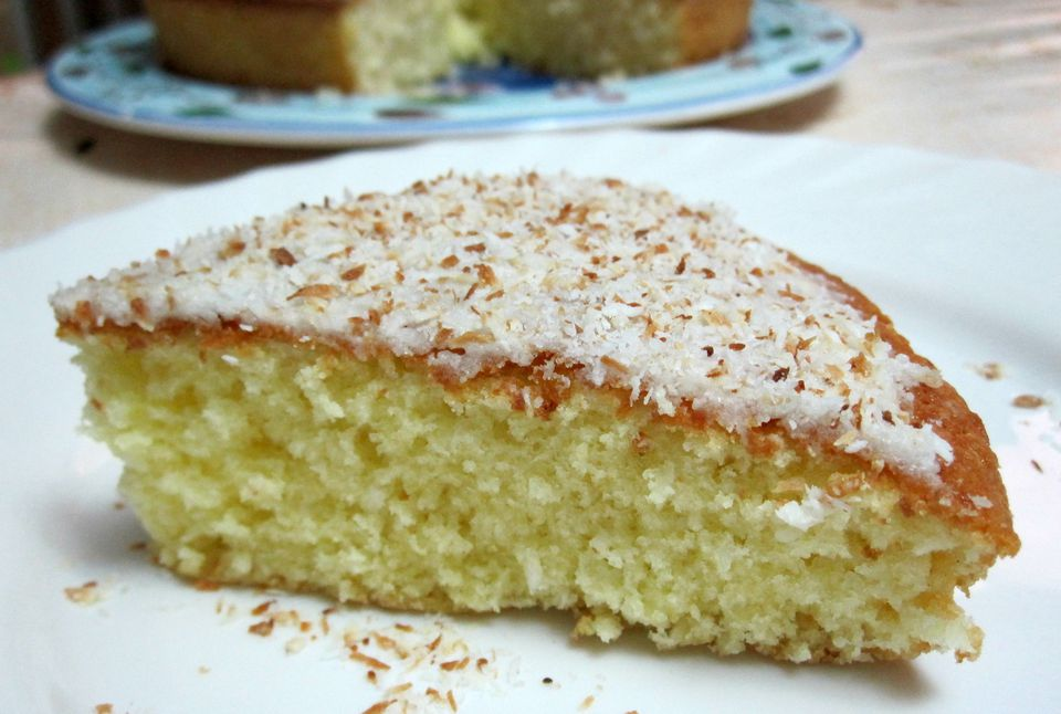 Coconut lemon cake with toasted coconut icing