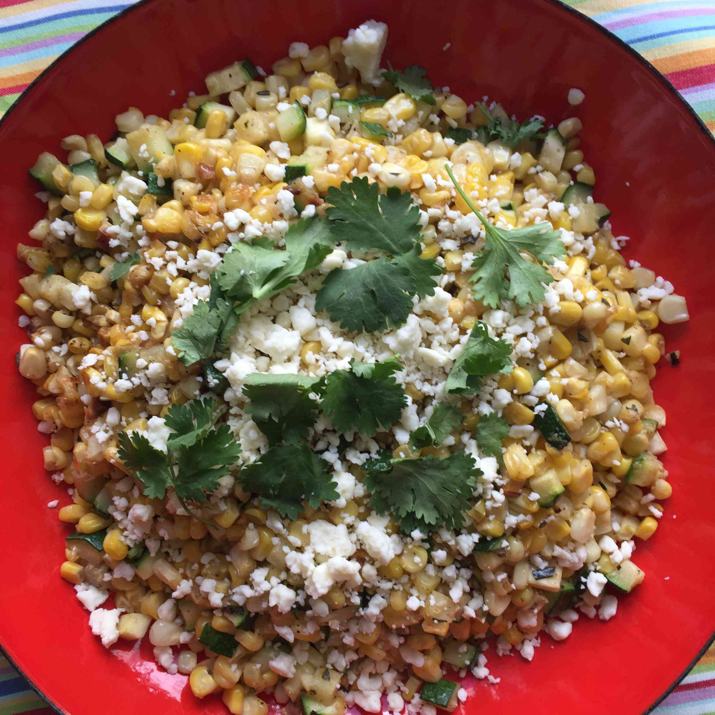 Sauteed Corn and Zucchini with Cojita and Cilantro