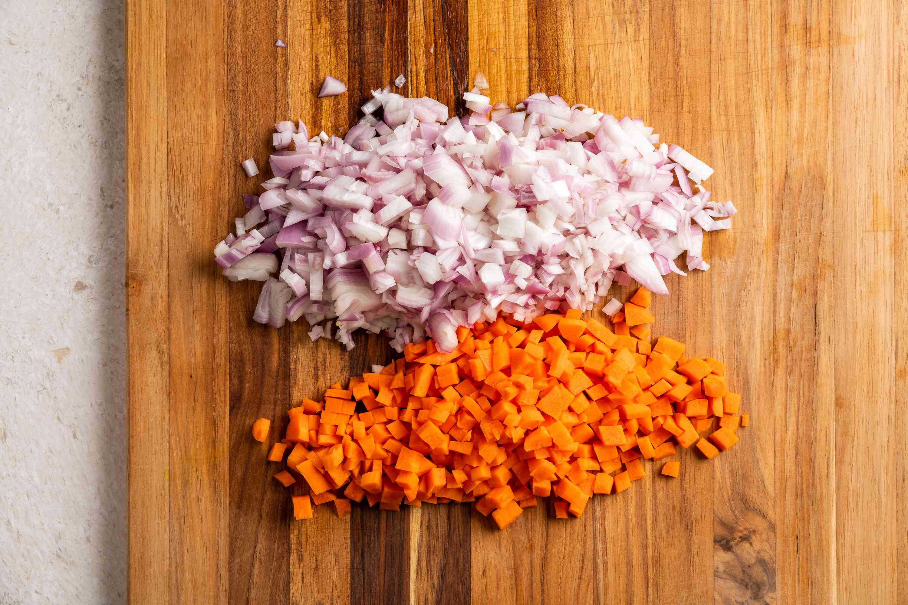 Peel and finely chop the shallots and carrots