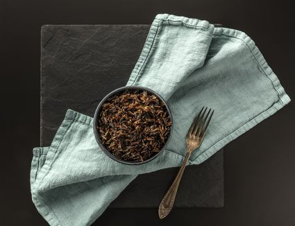 Bowl of cooked black rice