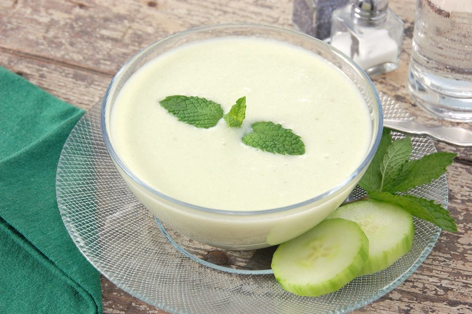 Bowl of chilled creamy cucumber soup