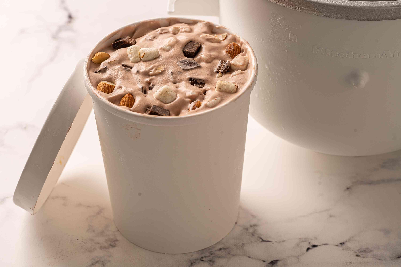 Freeze Rocky Road Ice Cream until set