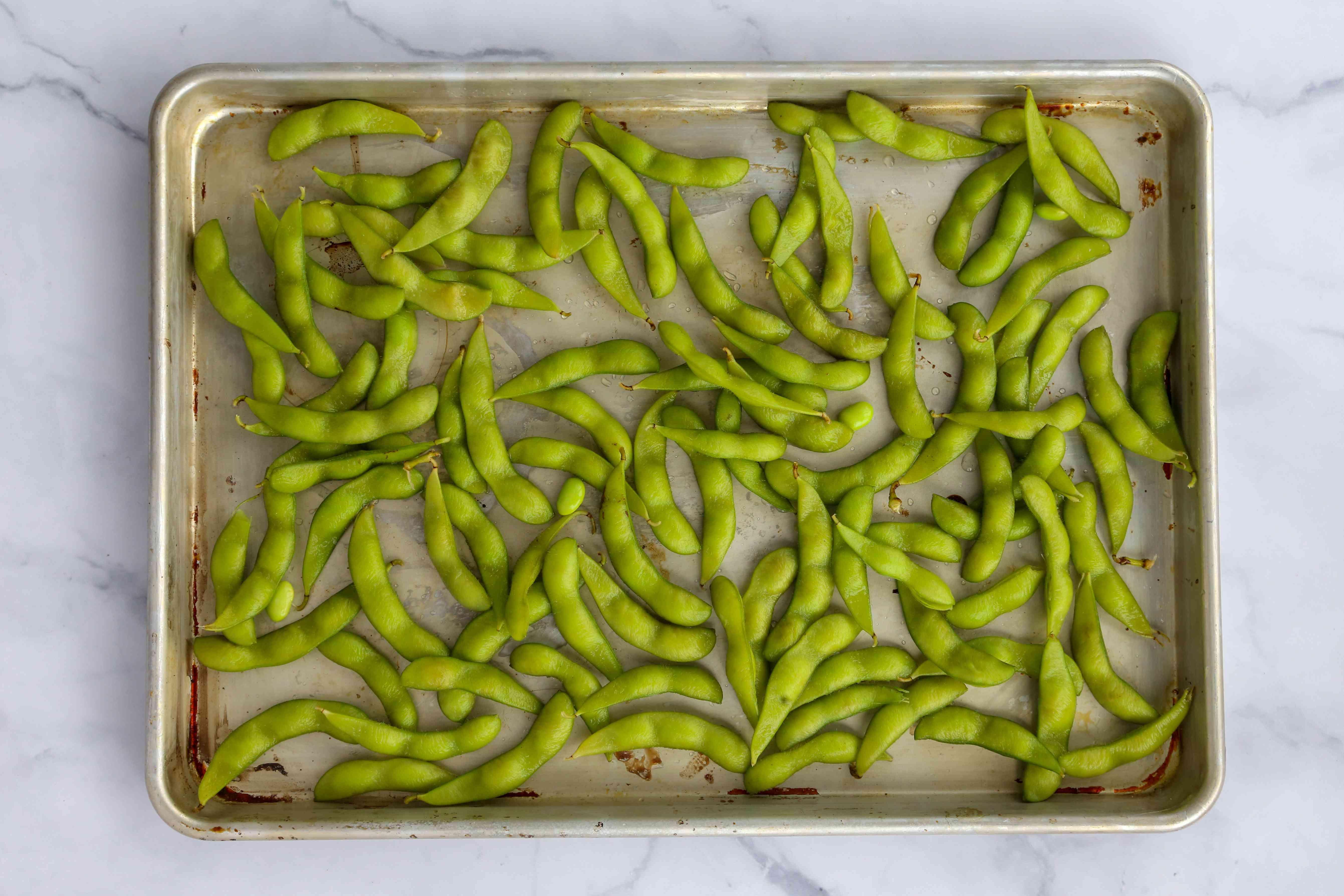 Boiled Edamame on a baking sheet