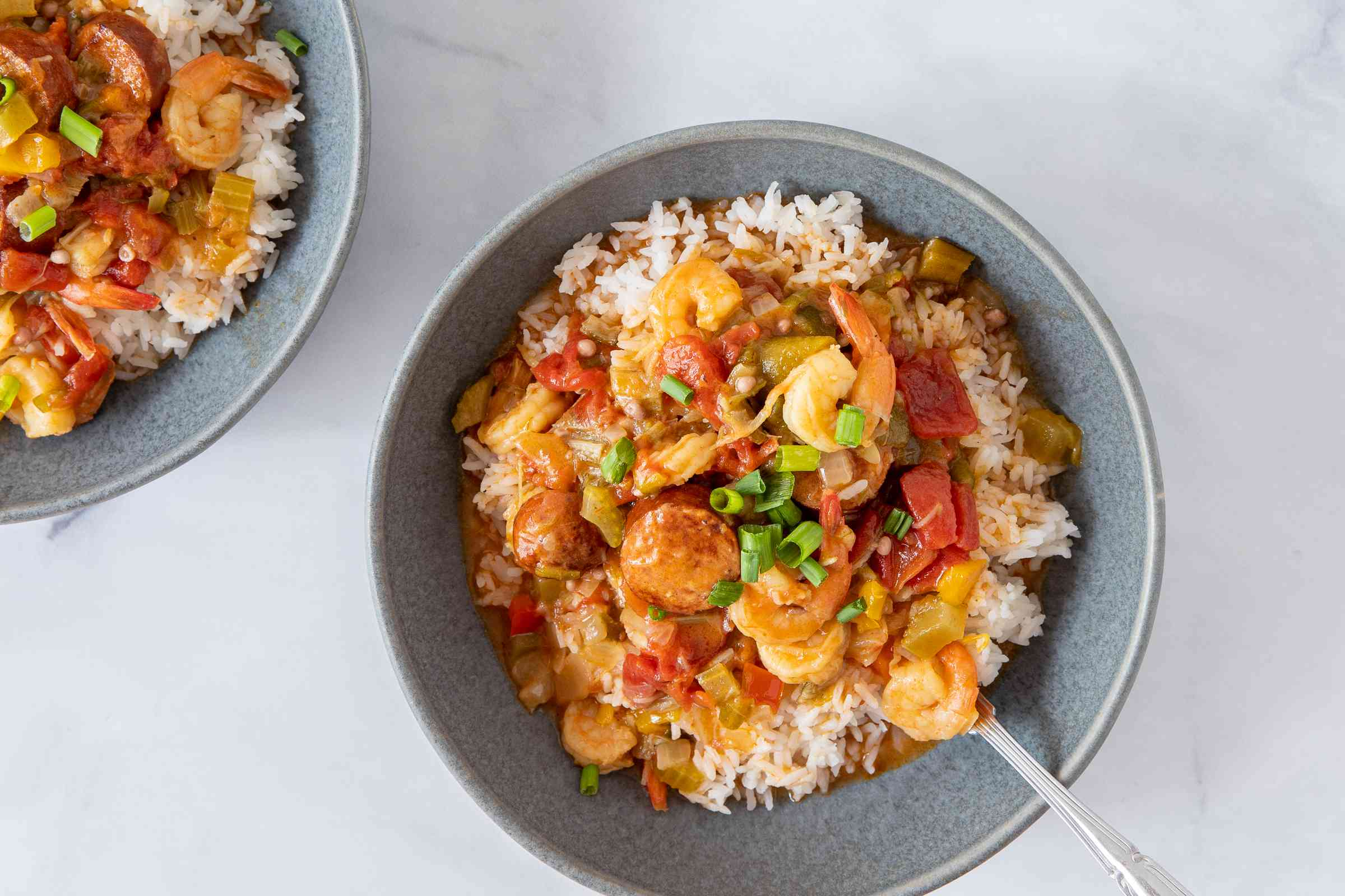 Shrimp and Sausage Gumbo served over rice