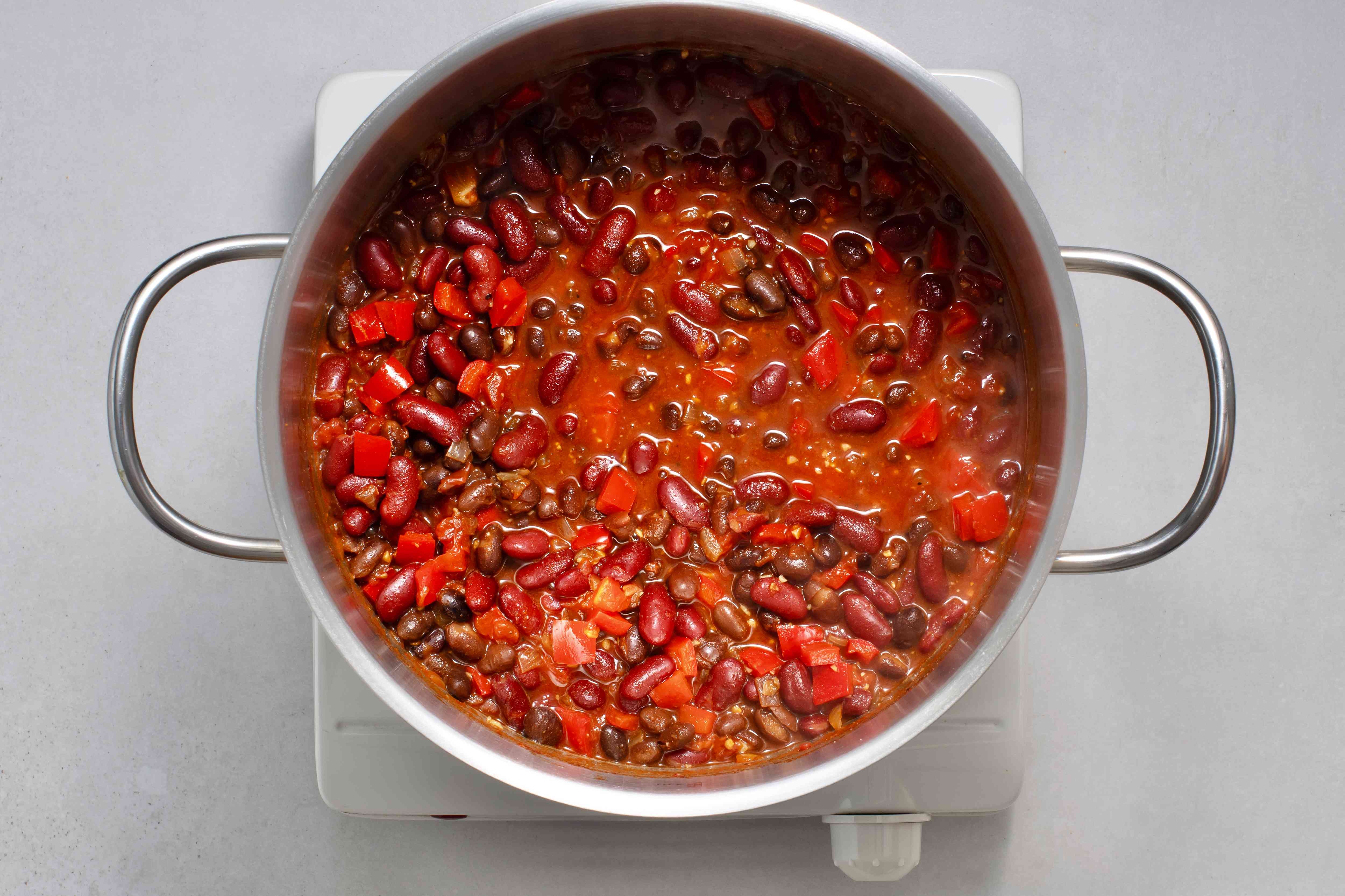 Chili ingredients in pan