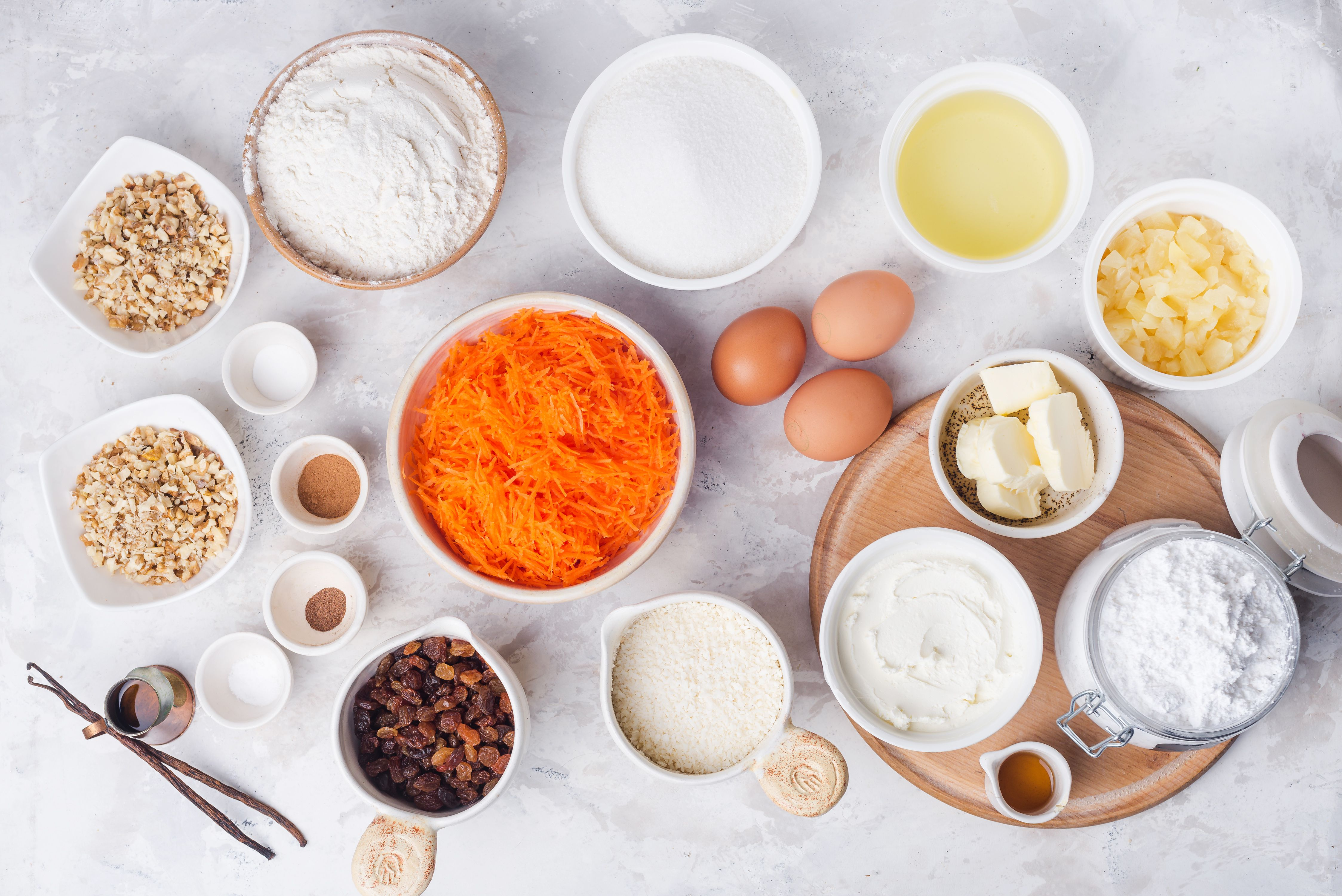 Ingredients for carrot cake with pineapple