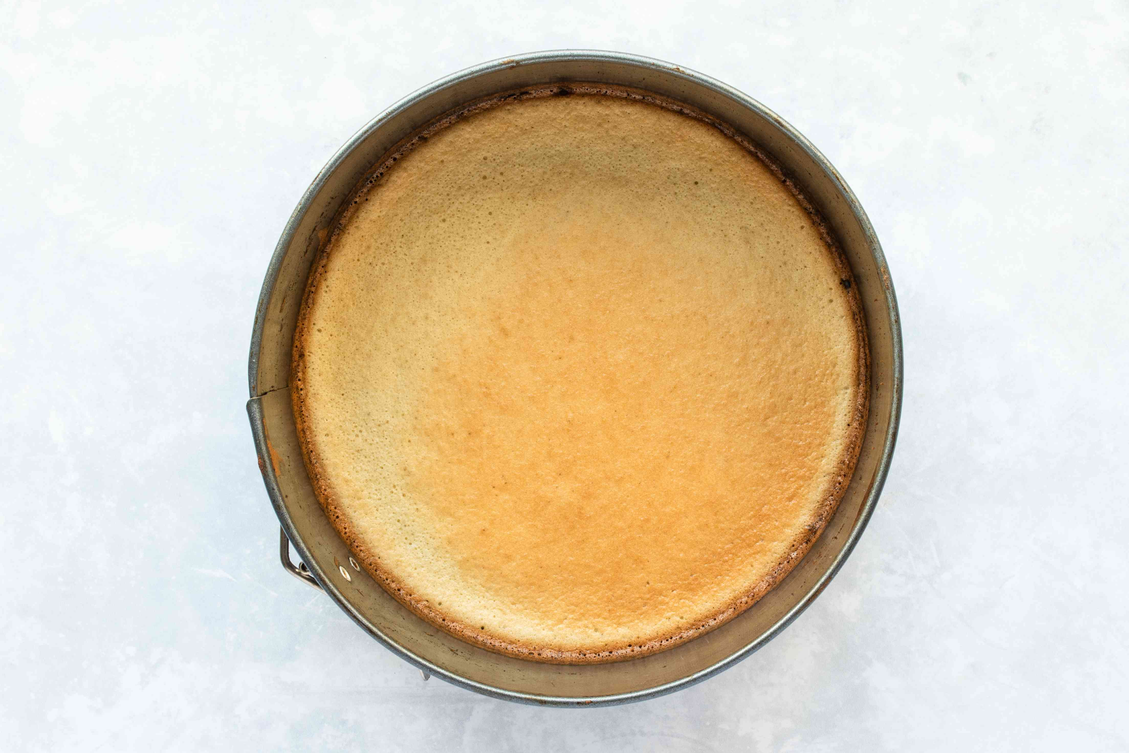 Baked cake layer in a pan