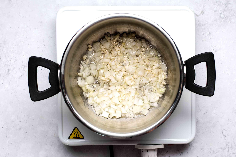 onions in a saucepan