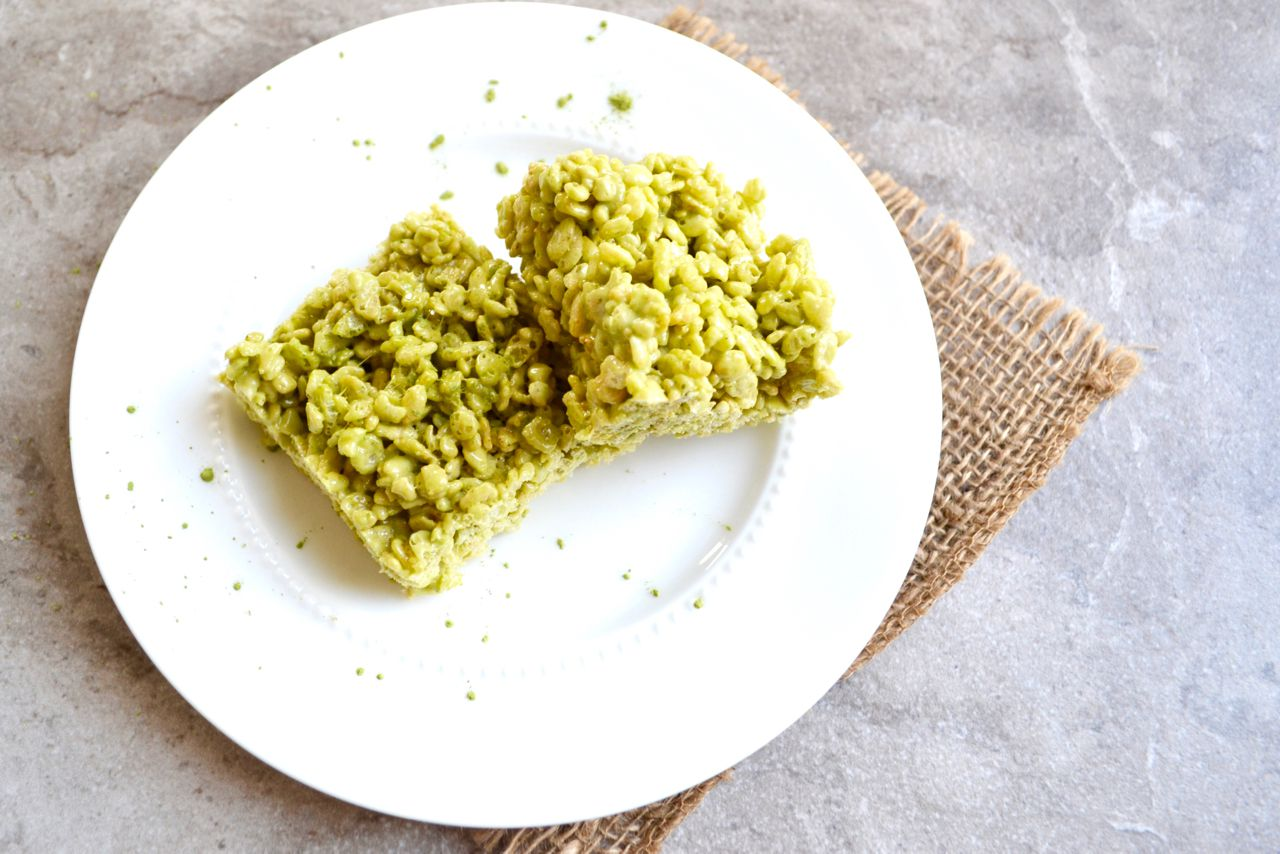 Matcha Green Tea Rice Krispie Marshmallow Treats