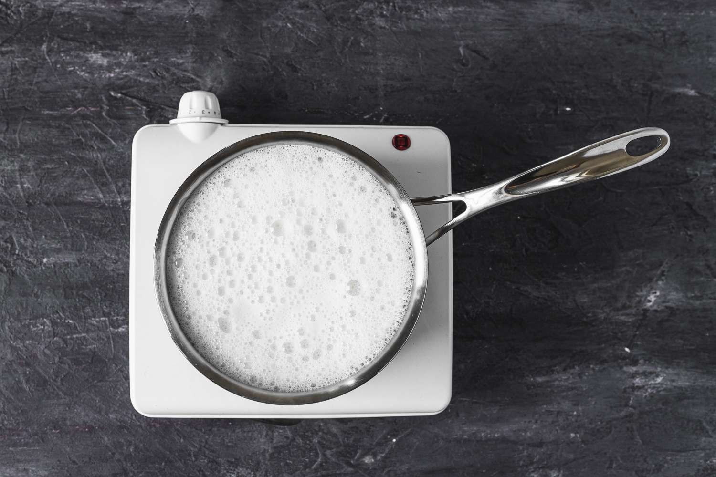 heating milk in a small saucepan
